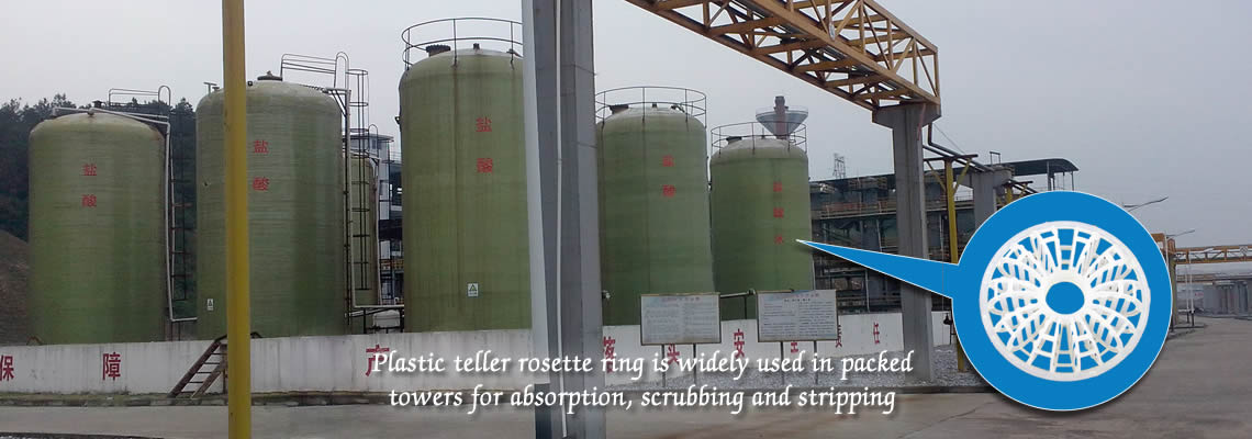There are many Hydrochloric acid reaction towers. A white plastic teller rosette ring is on the right.