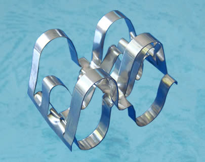 There is a metal super raschig ring. It has a corrugated structure.
