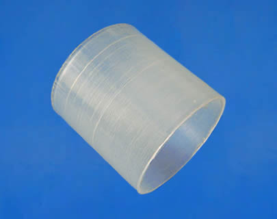 A plastic raschig ring shows its lateral side.