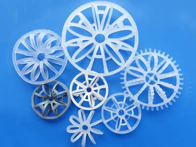 Seven teller rosette ring in different sizes and styles on the blue background.