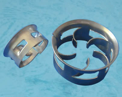 Two metal cascade mini rings on a blue background. The big one shows its five curved blades.